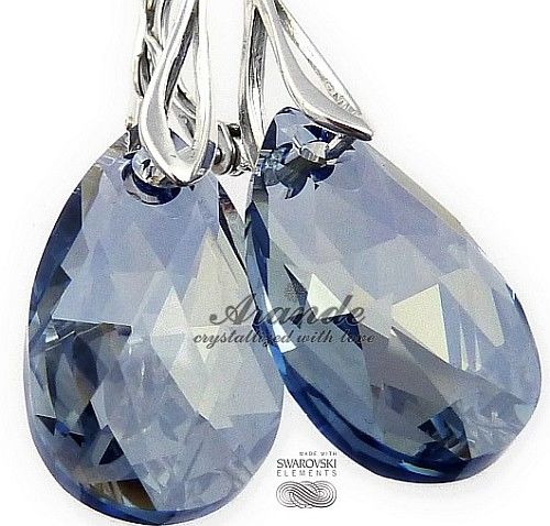 NOWE SWAROVSKI piękne kolczyki BLUE SHADE SREBRO