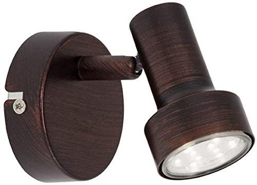 Briloner Leuchten Lampa ścienna LED z obrotowym i obrotowym punktem, lampa ścienna, reflektor o antycznym wyglądzie, oprawka: GU10, 1x3W, kolor: miedź, 8 x 10,6 cm