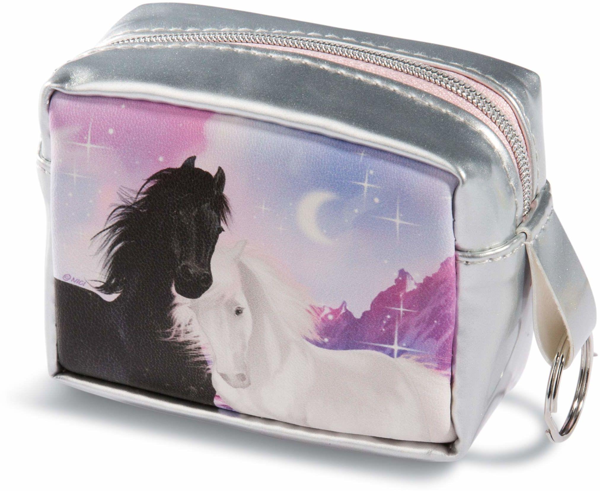NICI 44908 Mini torebka Soulmates z kółkiem na klucze, 10 x 7 x 4,5 cm, kolorowa/srebrna
