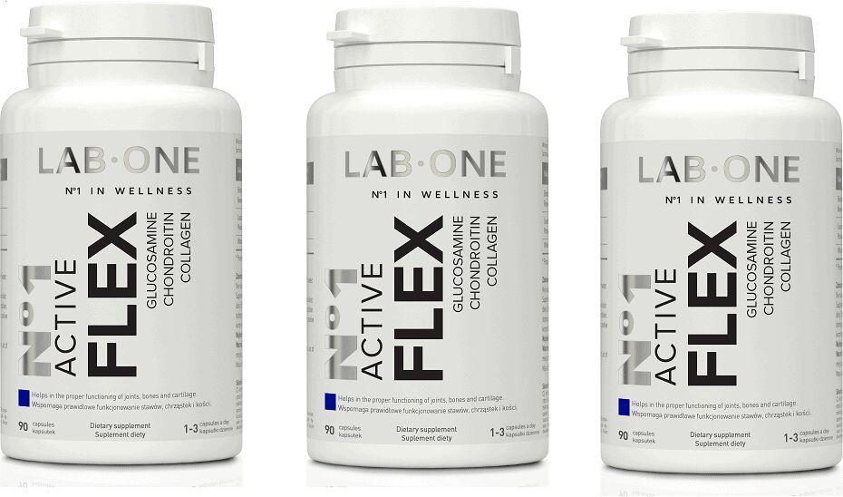 LAB ONE N1 Active Flex (Glukozamina Kolagen Chondroityna) 3 x 90 kapsułek