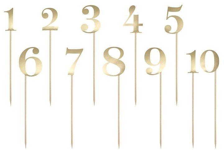 Dekoracyjne numery cyfry na patyczku złote 11 sztuk KPZ2-019M