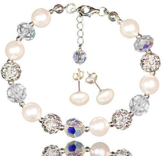 KPL613 biżuteria Swarovski KOMPLET pery kryształy