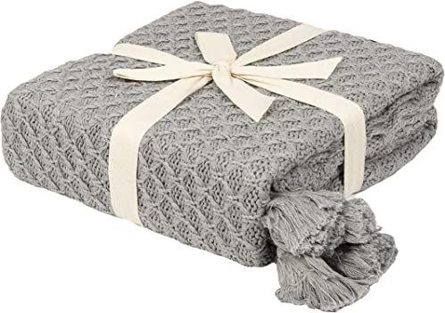 Penguin Home Dzianinowy koc narzutowy 100% bawełna - szary kolor - z bardzo miękkim dotykiem na sofę kanapę i łóżko - ciepły i przytulny koc - 130 x 150 cm (50 x 60 cali)