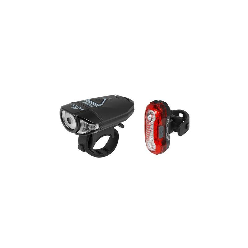 FORCE EXPRESS USB zestaw lampek, przód + tył,8592627102493