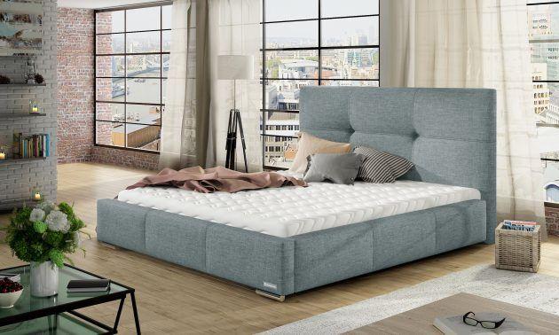 Łóżko LILY pod materac 90x200 z pojemnikiem na pościel + wysoki materac kieszeniowy SOGNATO + stelaż