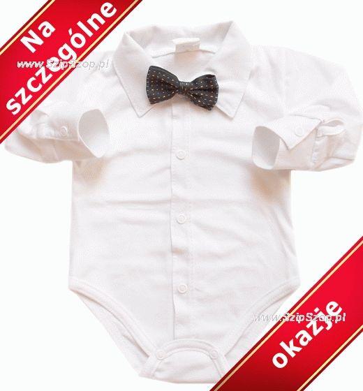 Body dla dzieci koszulowe z ko nierzykiem i eleganck grafitow muszk