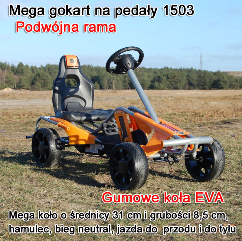 MEGA GOKART MIĘKKIE KOŁA EVA 5-12 lat, DO 60 KG/1503