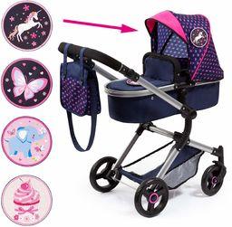 Bayer Design 18454AC wózek spacerowy, lalka kombi wózek miejski Vario z 4 łatkami, torba do przewijania i koszyk na zakupy, składany, obrotowe przednie koła, nowoczesny, niebieski, serca