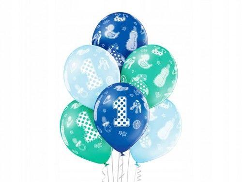 Balony na roczek dla chłopca, Birthday Boy, 6 szt.
