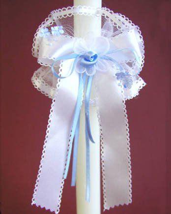 Stroik na świecę z kokardą i niebieską różyczką - 1 szt.