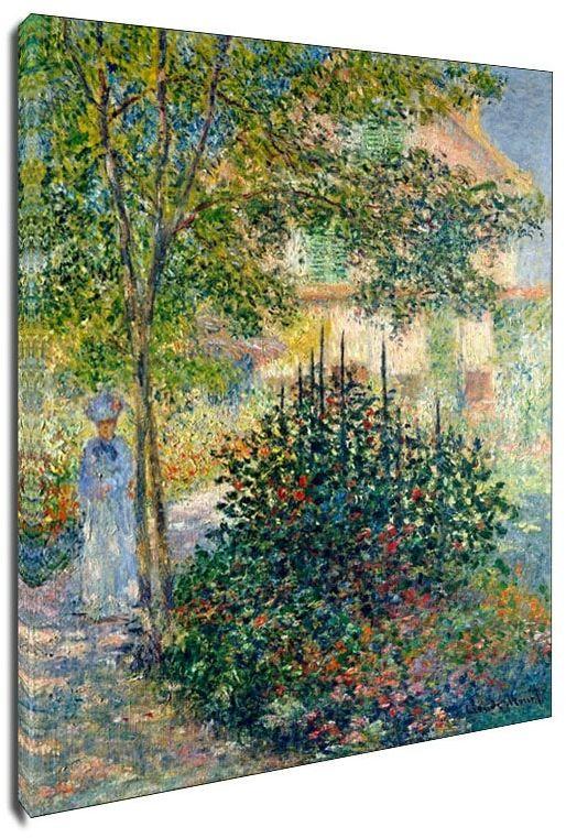 Camille monet in the garden at the house in argenteuil, claude monet - obraz na płótnie wymiar do wyboru: 60x90 cm