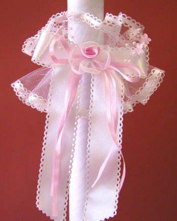 Stroik na świecę z kokardą i różową różyczką - 1 szt.
