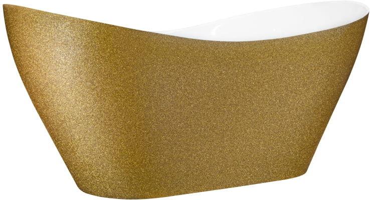 Besco wanna wolnostojąca Viya Glam Złota 160x70 cm VIYA160 biało-złota+ syfon klik-klak