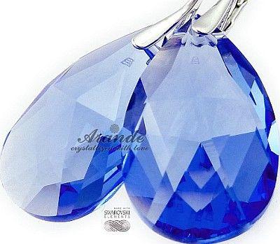 Kryształy Duże Kolczyki Medium Sapphire Srebro
