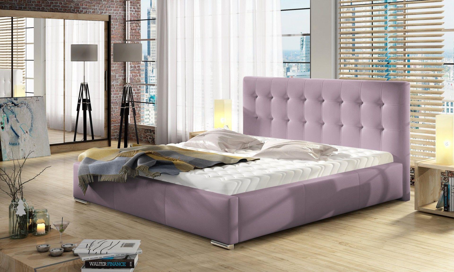 Łóżko DOLORES pod materac 160x200+ materac kieszeniowy PASSION + stelaż Simpack