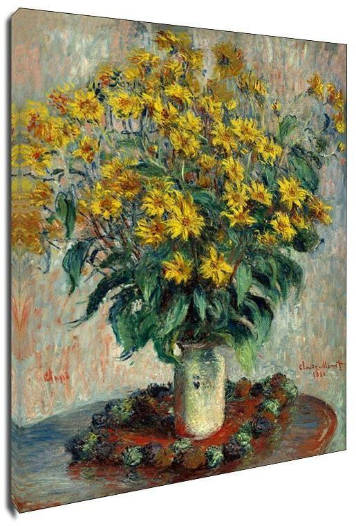 Jerusalem artichoke flowers, claude monet - obraz na płótnie wymiar do wyboru: 20x30 cm