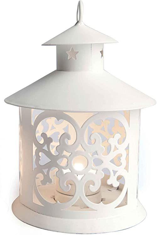 Excelsa Latarnia w kształcie pagody, metal, biały, metal, biały, 12 x 19 cm
