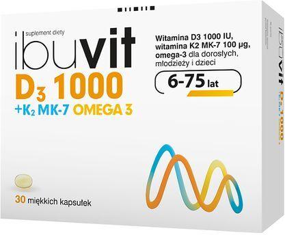Witamina D3 1000 + K2 MK-7 Omega-3 Ibuvit - 30 kapsułek