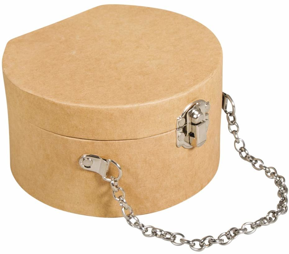 Rayher 67281521 walizka z masy papierowej, okrągła, 12,5 x 11,7 x 7 cm, z zamknięciem i metalowym łańcuszkiem, certyfikat FSC, mała walizka z masy papierowej