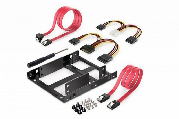 """Digitus Ramka montażowa/Adapter SSD/HDD 2x 2.5"""" do 3.5"""" (ATA, SATA, SSD) metalowa ,zestaw z kablami, czarna"""