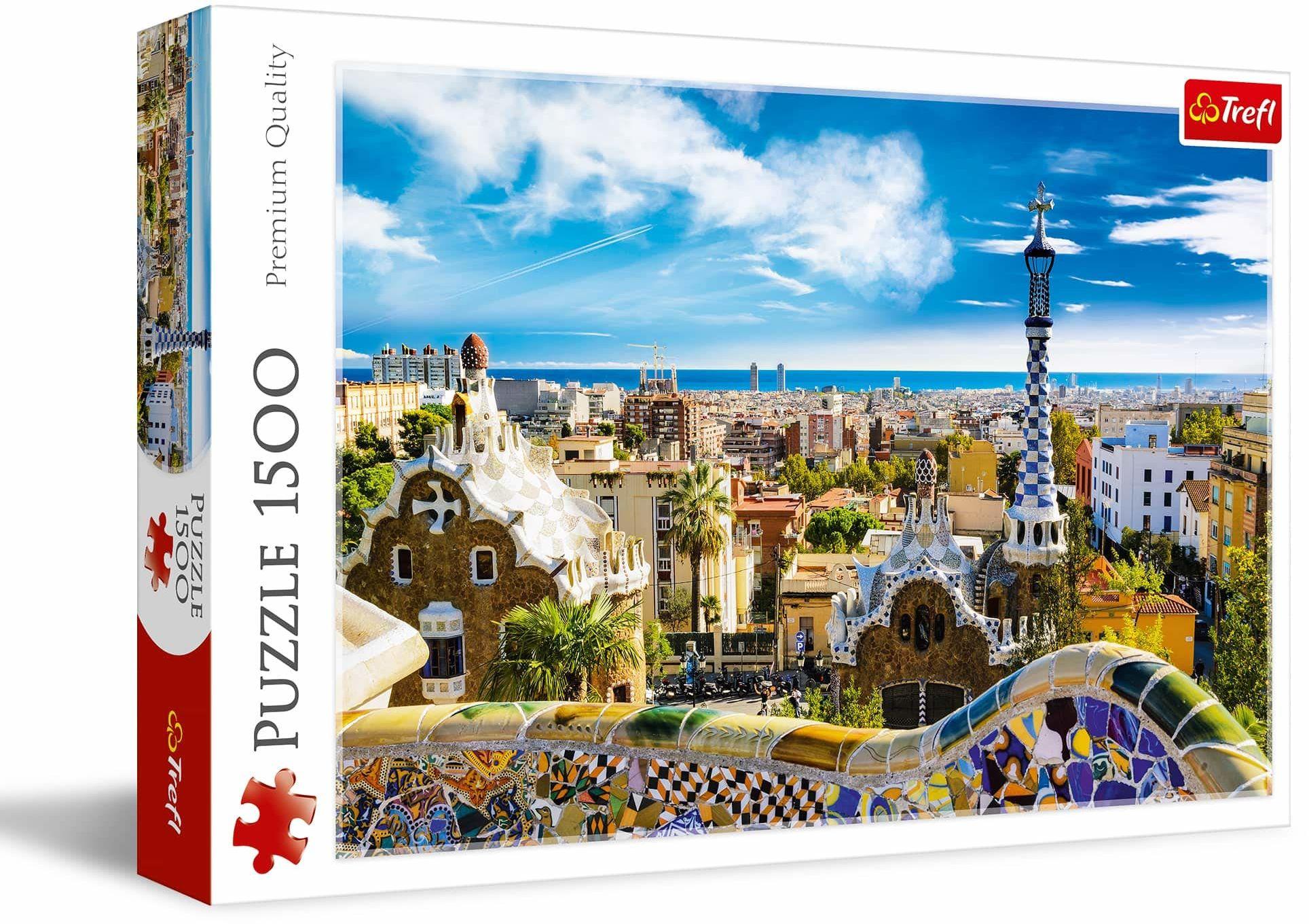 Trefl Park Güell, Barcelona Puzzle 1500 Elementów o Wysokiej Jakości Nadruku dla Dorosłych i Dzieci od 12 lat