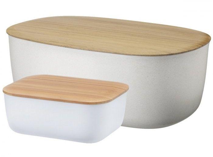 RIG-TIG by Stelton BOX-IT Chlebak i Maselniczka z Melaminy - Zestaw Biały