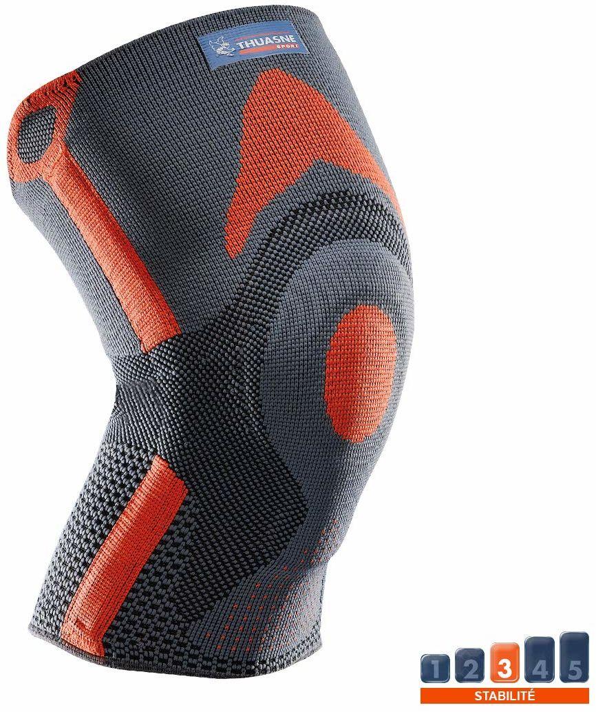 Wzmocniona opaska na kolana na rzepkę Thuasne Sport - szary/pomarańczowy - rozmiar M