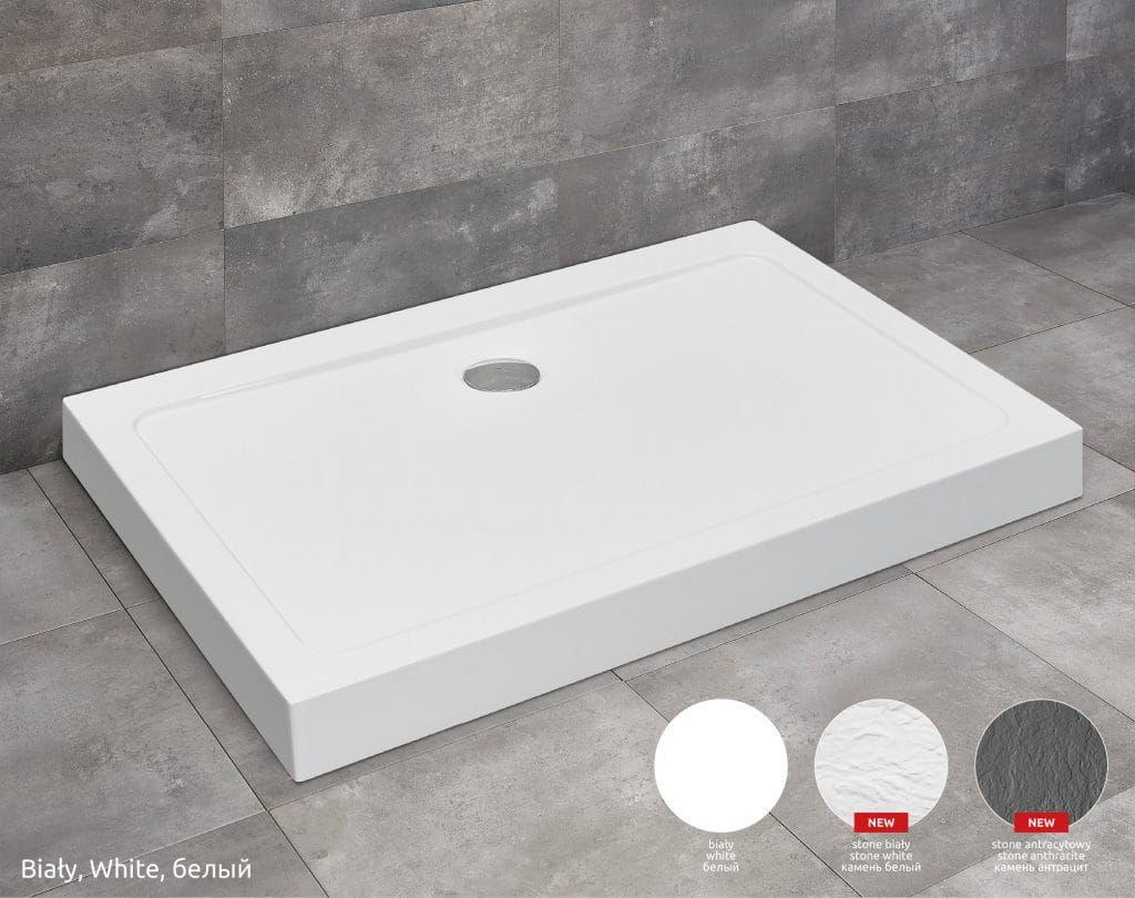 Radaway Doros D Compact Stone Biały brodzik z obudową i strukturą 90x80cm akrylowy SDRD9080-05-04S