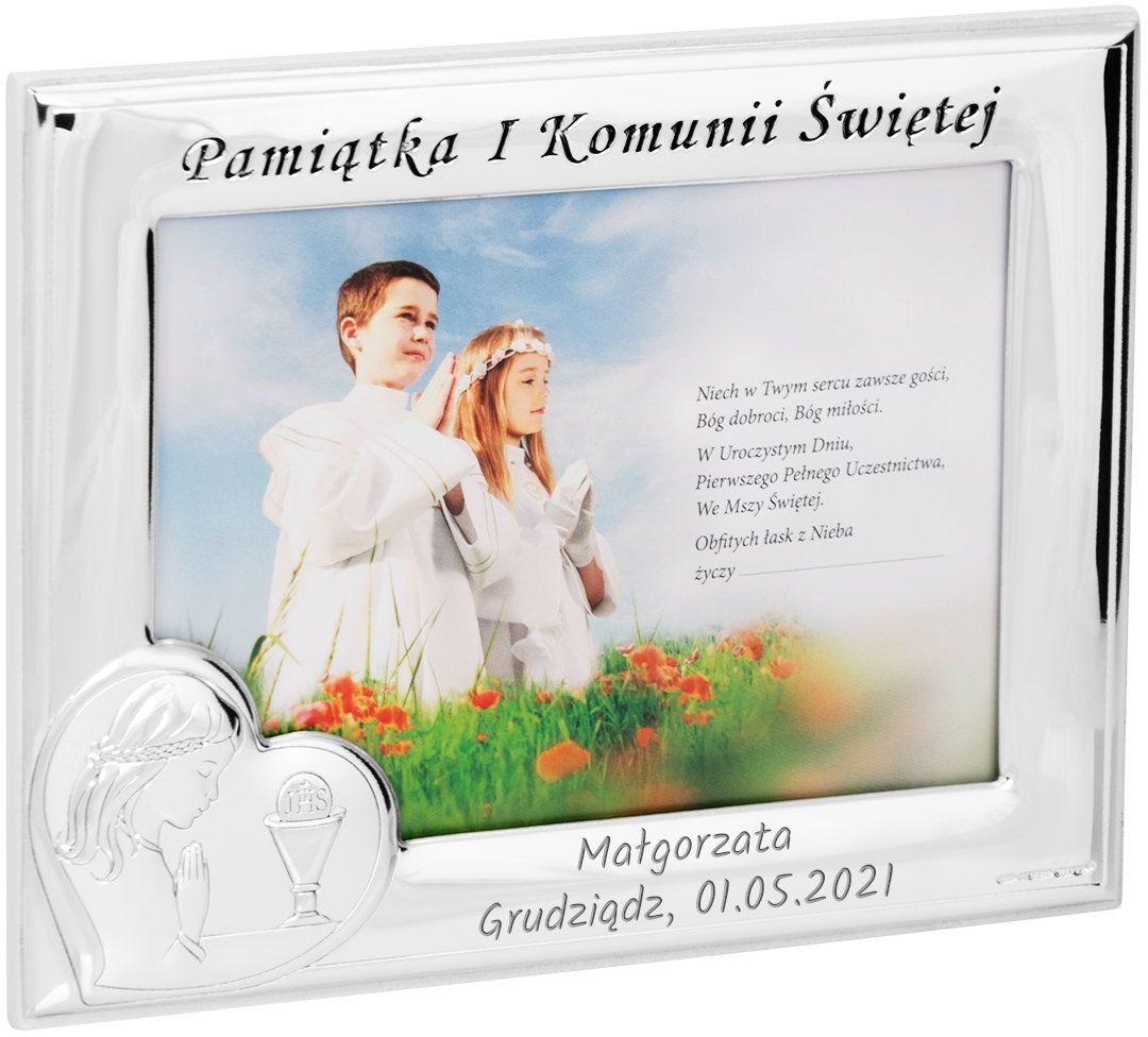 Ramka na zdjęcie I Komunia Św. dla Dziewczynki na białym drewnie Grawer