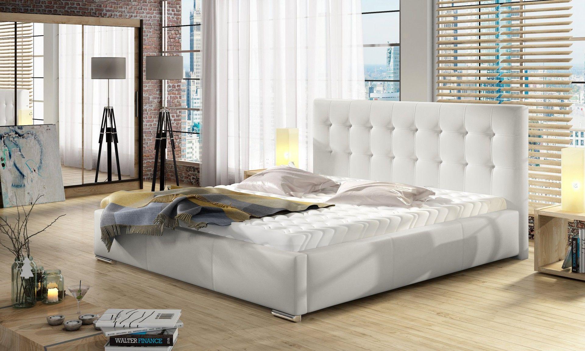 Łóżko DOLORES pod materac 90x200+ wysoki materac kieszeniowy SOGNATO + stelaż Simpack
