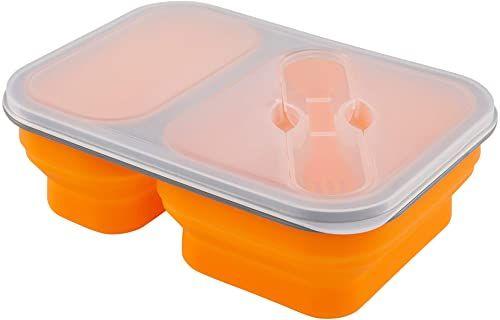 Adler pudełko na lunch silikonowy pojemnik 2-komorowy pomarańczowy, wielokolorowy, jeden rozmiar