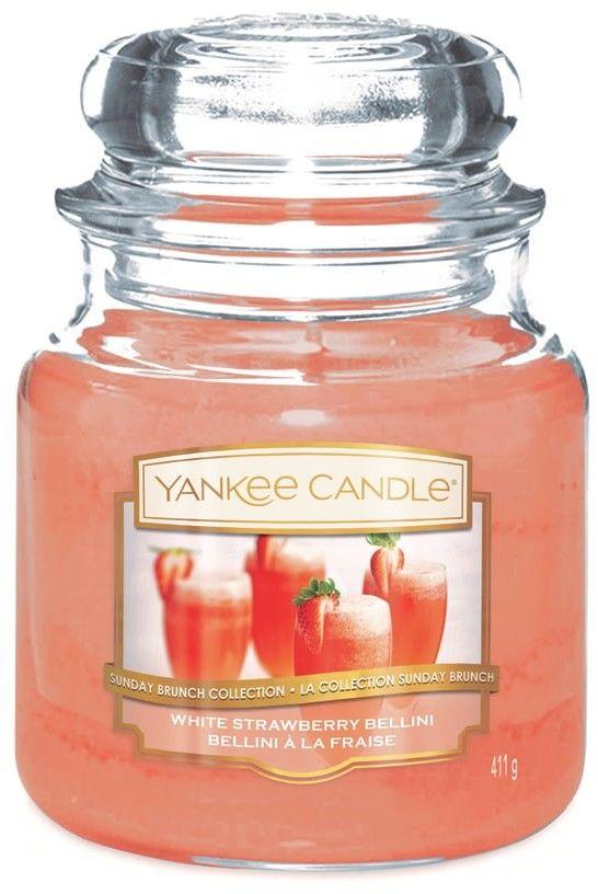 Yankee Candle White Strawberry Bellini świeczka zapachowa Classic średnia 411 g