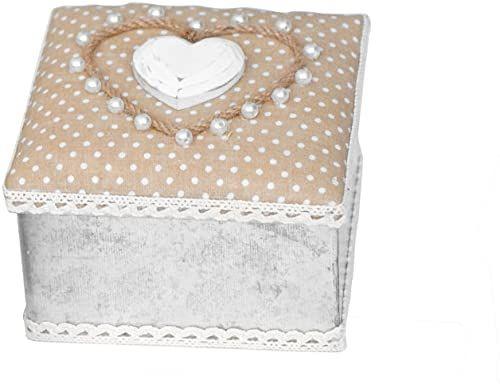 Home Love pojemnik Quadra, tkanina, srebrny/beżowy, 12 x 10 x 13 cm