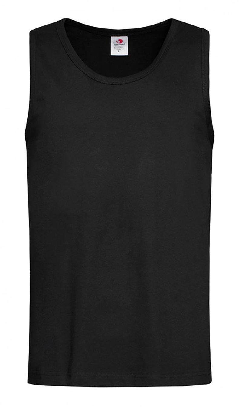 Czarny Bawełniany T-Shirt (TANK TOP) Męski Bez Nadruku -STEDMAN- Koszulka, Bez Rękawów, Bezrękawnik TSJNPLST2800blackopal