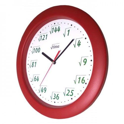 Zegar ścienny pod pierwiastkiem bordo