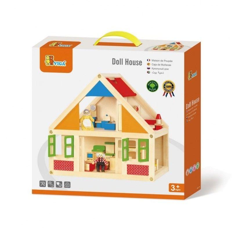 Viga Domek drewniany dla lalek U Babci i dziadka mebelki