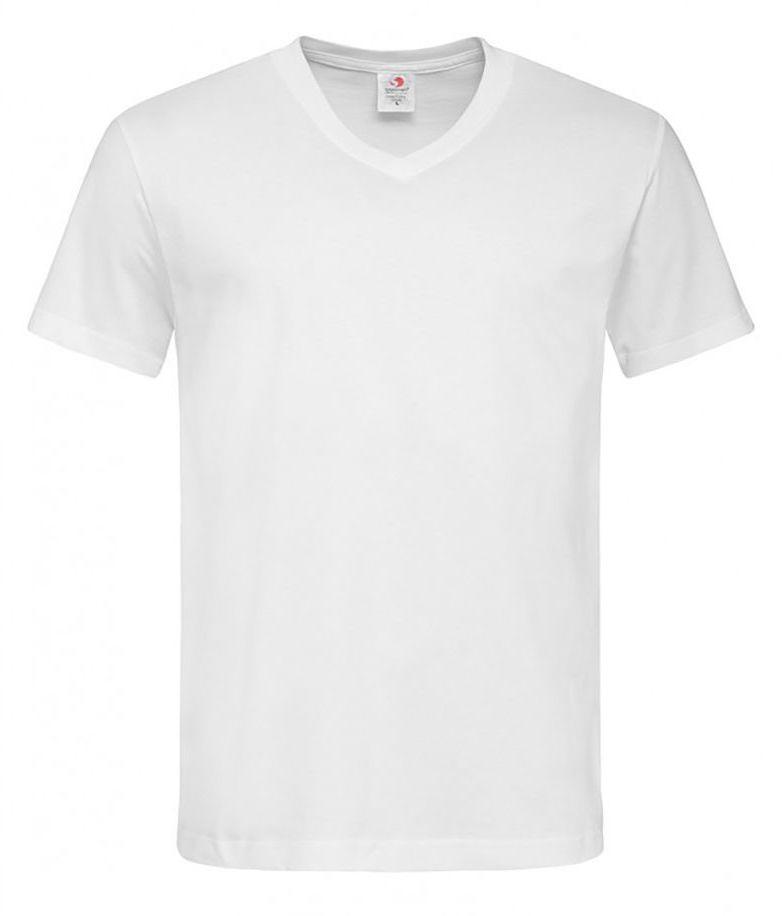 Biały Bawełniany T-Shirt w Serek, Męski Bez Nadruku -STEDMAN- Koszulka, Krótki Rękaw, Basic, V-neck TSJNPLST2300white