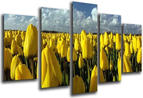 Obraz ścienny - pole żółte tulipany, 165 x 62 cm, druk drewna - format XXL - druk artystyczny, ref.26322