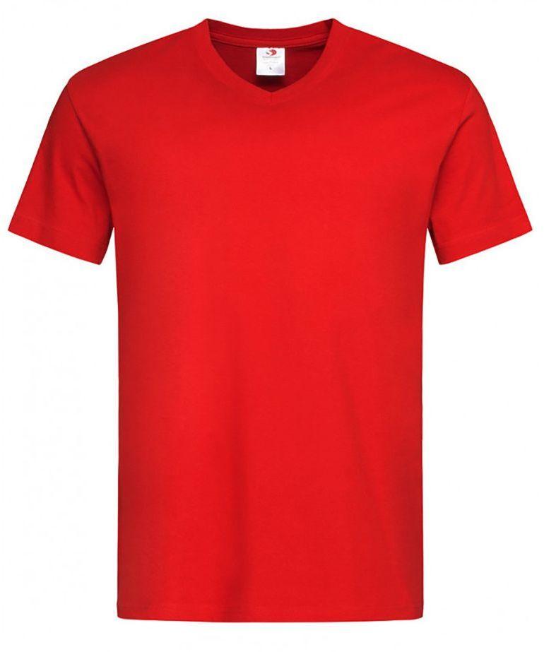 Czerwony Bawełniany T-Shirt w Serek, Męski Bez Nadruku -STEDMAN- Koszulka, Krótki Rękaw, V-neck TSJNPLST2300scarletred