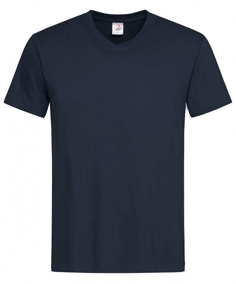 Granatowy Bawełniany T-Shirt w Serek, Męski Bez Nadruku -STEDMAN- Koszulka, Krótki Rękaw, V-neck TSJNPLST2300navyblue
