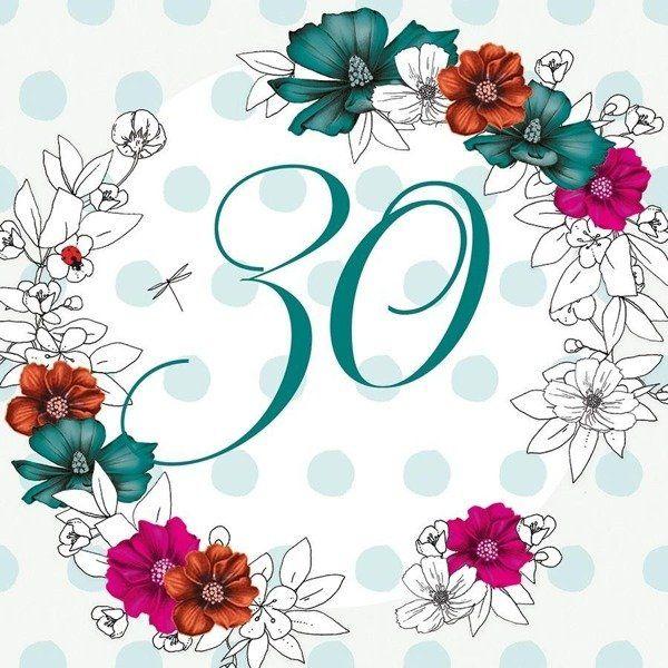 Karnet Swarovski kwadrat Urodziny 30 kwiaty