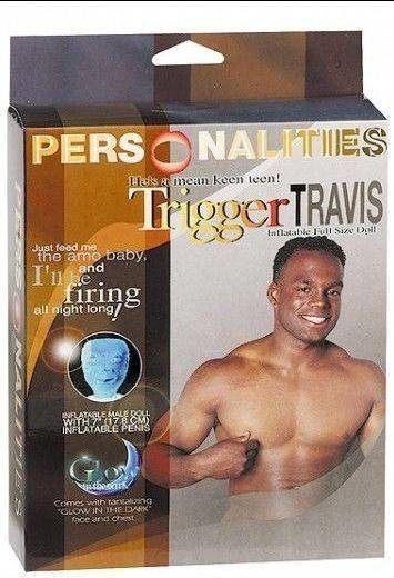Dmuchana lalka Trigger Travis Penis 18cm Świeci w Ciemności 100% ORYGINAŁ DYSKRETNA PRZESYŁKA