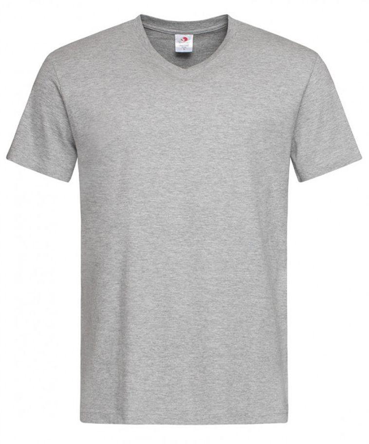 Szary Bawełniany T-Shirt w Serek, Męski Bez Nadruku -STEDMAN- Koszulka, Krótki Rękaw, Basic, V-neck TSJNPLST2300greyheather