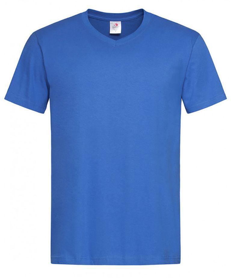 Chabrowy Bawełniany T-Shirt w Serek, Męski Bez Nadruku -STEDMAN- Koszulka, Krótki Rękaw, V-neck TSJNPLST2300brightroyal