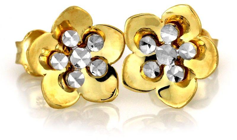 Złote kolczyki 333 kwiatuszki z białym złotem 8kt