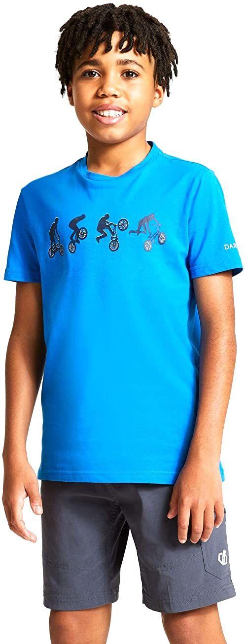 Dare2b Dziecięce DKT426 4PAC05 Go Beyond'' nadrukowane bawełniane koszulki na co dzień/polo/kamizelki, Atheltic Blue, 5-6