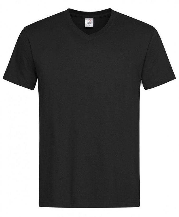 Czarny Bawełniany T-Shirt w Serek, Męski Bez Nadruku -STEDMAN- Koszulka, Krótki Rękaw, Basic, V-neck TSJNPLST2300blackopal