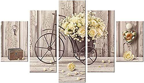 Nowoczesny obraz z drewna, 5 sztuk, 48 x 85 cm, żółte kwiaty róży