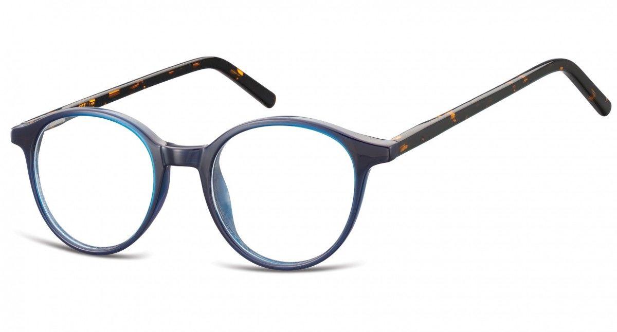 Okulary oprawki zerówki korekcyjne lenonki Unisex Sunoptic AC23G niebieski + panterka