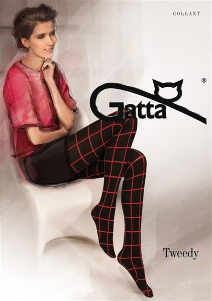 Gatta Tweedy 02 - Tights Nero-Red 2-S